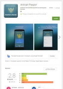 antrian paspor mobile app